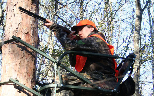 Female Hunter Treestand