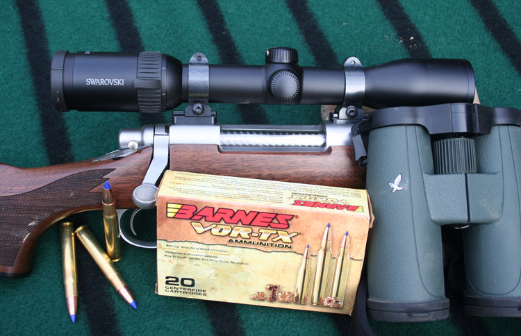 The gear used for two successful whitetail hunts: Remington Classic, Barnes Bullets, Talley mounts and Swarovski optics.