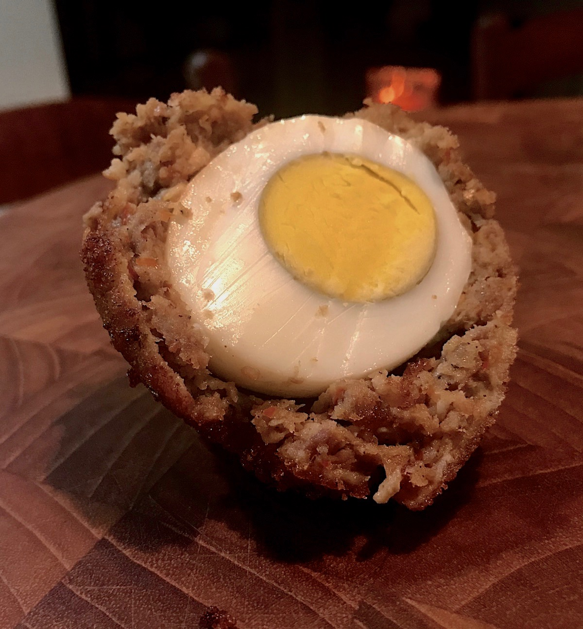 Scotch eggs with venison sausage